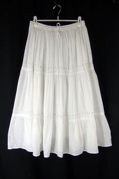 CHICO'S 2 Tiered Skirt Long Pull-on Full Cotton Boho Peasant ...