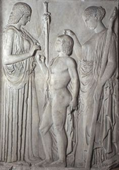 Relief from Eleusis of Demeter, Triptolemos and Persephone | Museum of Classical Archaeology Databases