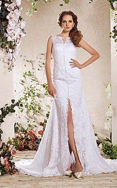 Charming+A-line+V-neck+Chapel+Train+Lace+Wedding+Dress++–+USD+$+299.99