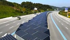 A 20-mile solar bike lane has been built in the middle of a six-lane highway in Korea, about two hours south of Seoul.