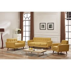 Magic 3 Piece Living Room Set - Perfect for a competitive evening of charades with close friends or a casual wine and cheese party with coworkers, this lovely three-piece set seats up to six comfortably. Use this solid-hued set to anchor a minimalist living room, drawing attention to its splayed wooden legs with oak side tables.