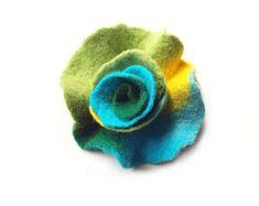 Felted Flower Brooch Felt Flower Brooch Flower Felt Green Turquoise Yellow Wool floral brooch Merino Wool brooch Winter Boho Gift OOAK