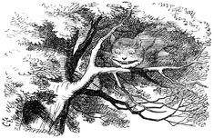 """Disappearing Cheshire Cat"" illustration by John Tenniel from Lewis Carroll's ""Alice's Adventures in Wonderland"" (1865) via Lenny's Alice in Wonderland Site"