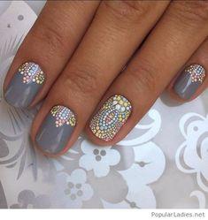 grey-nails-with-colorful-polka-dots