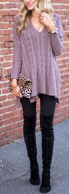 #fall #popular #outfits | Purple Sweater Black Denim