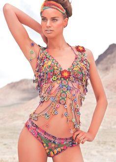 crochet swimwear with flowers Agua Bendita Swimwear 2012 Hippie Style, Mode Hippie, Bohemian Mode, Gypsy Style, Bohemian Style, Boho Chic, My Style, Hippie Bohemian, Boho Gypsy