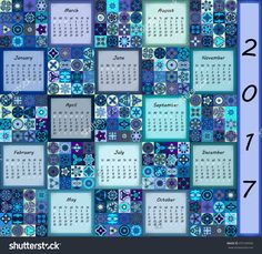 Calendar 2017. Vintage Decorative Colorful Elements. Ornamental Patchwork Oriental Pattern, Vector Illustration. Islam, Arabic, Indian, Turkish, Pakistan Chinese Ottoman Motifs - 475189936 : Shutterstock
