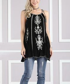 $12.99  Black & White Embroidered Sleeveless Tunic on #zulily! #zulilyfinds