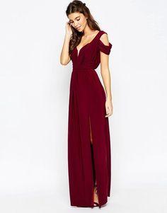 ASOS WEDDING Drape Cold Shoulder Maxi Dress - Shop for women's Dress - Oxblood