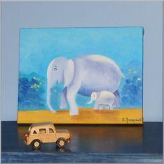 Douce création éléphants à offrir à l'occasion d'une naissance. Tableau chambre bébé peint à la main (huile), signé de l'artiste Sybille Marquis.