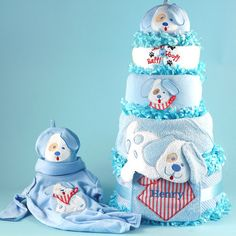 Buy Happy as a Puppy Diaper Cake Baby Boy Gift. More - Happy as a Puppy Diaper Cake Baby Boy Gift. Happy as a Puppy Diaper Cake Baby Boy GiftThis Diaper Cake is sweeter than it looks! Puppy Love is our new and delightfully playful diaper cake baby gift fo Puppy Diapers, Newborn Diapers, Baby Shower Diapers, Newborn Baby Gifts, Baby Boy Gifts, Gifts For Boys, Baby Shower Gifts, Boy Shower, Diaper Cake Boy