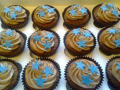 Birthday cupcakes for boys with chocolate swiss meringue buttercream swirls and stars