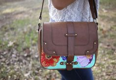 DIY #decoupaged & painted handbag from @HonestlyWTF #upcycle #ModPodge @Plaid Crafts