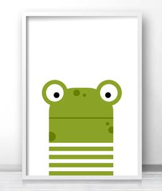 Printable kids wall art, Nursery wall print, Animal nursery decor, Frog illustration for kids room decor