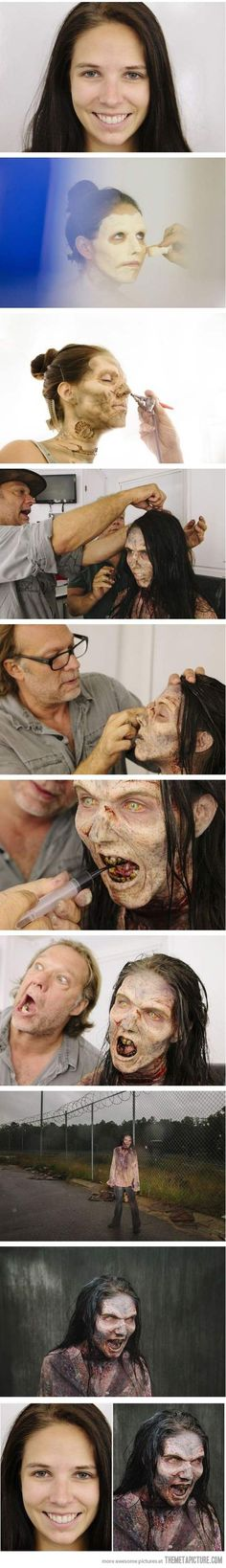 the Making of a zombie from 'The Walking Dead' amazing special fx gory makeup avant garde