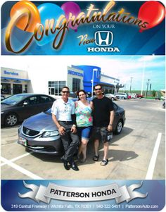 Congratulations to Jerry and Stephanie Kennedy on their New 2014 Honda Civic! From Brent Robbins at Patterson Honda.
