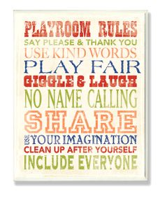 Playroom Rules Typography Wall Art.