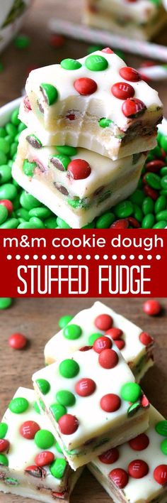 M&M Cookie Dough Stuffed Fudge is an easy, delicious recipe thats perfect for the holidays. This 5 minute fudge is made with white chocolate stuffed with an M&M cookie dough and topped with more M&M's! A crowd pleaser and a great gift! Christmas Deserts, Holiday Desserts, Holiday Baking, Just Desserts, Holiday Recipes, Delicious Desserts, Yummy Food, Christmas Recipes, Christmas Candy