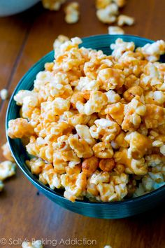 Salty, sweet, sticky, and easy to make Peanut Butter Caramel Corn recipe by sallysbakingaddiction.com