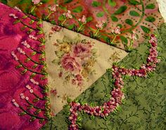 I ❤ crazy quilting & embroidery . . . Rosebud Pincushion stitching closeup ~By ivoryblushroses