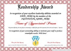 Leadership Award Template for employees or students. You can add text, images, borders & backgrounds. Select images from our library or upload your own for a truly original certificate. Certificate Maker, Award Certificates, Certificate Format, Training Certificate, Free Printable Certificate Templates, Certificate Design Template, Leadership Abilities, Student Leadership, Award Template