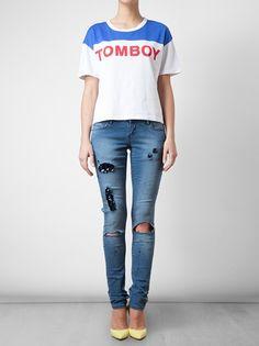 FILLES A PAPA - Tomboy Motif Cotton T-shirt 5