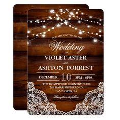 Rustic Wood Lace Wedding Invitation - wood wedding style nature diy customize personalize marriage #weddinginvitation