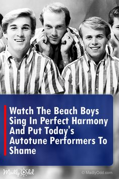 The Beach Boys singing in perfect harmony is a thing of beauty. No autotune musicians here. Just pure music. Best Song Ever, Greatest Songs, Music Sing, Music Music, Music Clips, The Beach Boys, Old Singers, Beautiful Songs, Christian Music