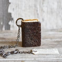 Book Necklace, hand made useable notebook pendant with drawing paper and reclaimed leather: Shale by Peg and Awl