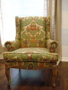 Reupholstering a wingback chair tutorial.