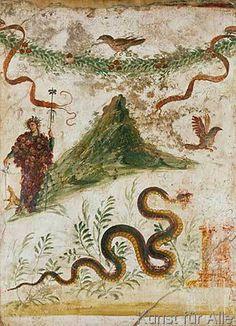 1. Jahrhundert - Bacchus am Vesuv / pompejan. Wandmalerei