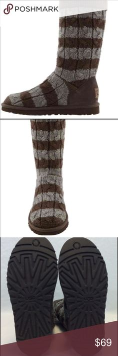 UGG Gray/Brown Striped Boots 6/7 New This is a brand new pair of brown and gray Striped Knitted Boots, they don't run large like Classic UGG's but since they have plenty of give they will work for a 7 also. I go down a size personally with my Knitted boots, I would rather have a little snug at first then end up with a pair that can end up a bit sloppy when they , but that is just me, I know other people prefer to buy their exact size so it's just personal preference! I purchase from Deckers…