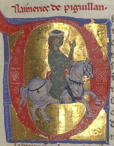 Illuminated Manuscript Depicting troubadour Aimeric de Péguilhan, ca. 13th century via Bibliothèque nationale de France on Wikimedia Commons, Public Domain