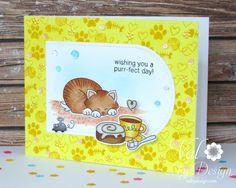 Summer Coffee Lover's Blog Hop - Newton's Nook, Pretty Pink Posh, Copics, Distress Inks {ValByDesign, 2015}