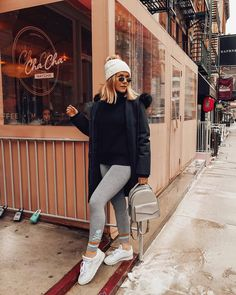 Sunday cha cha w/ and the Cobble backpack Athleisure, Parka, Mom Jeans, Winter Hats, Normcore, Leggings, Backpacks, Womens Fashion, How To Wear
