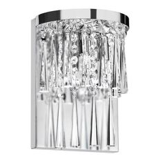 2-light Crystal/ Polished Chrome Wall Sconce