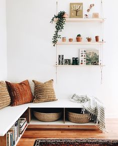 Minimalist Home Interior .Minimalist Home Interior Living Room Storage, Living Room Decor, Living Spaces, Living Rooms, Living Room Bench, Living Room Corners, Earthy Living Room, Boy Rooms, Chill Lounge