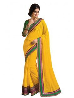 Yellow Chiffon Saree with Embroidery Work