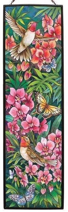 FLORAL HUMMINGBIRD BUTTERFLY ORCHIDS FLORAL * 10x37 ART GLASS ART WINDOW PANEL in Collectibles, Animals, Insects & Butterflies   eBay