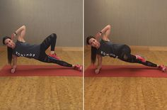 Shearing Side Plank   Work Core Stabilizers, Obliques and Gluteus Medius (outside of hips)