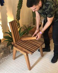 Versatile piece - Renzo presenting a versatile piece that was at CasaCor SP (Decor Mais Decor Diy Furniture Videos, Diy Garden Furniture, Chair Design, Furniture Design, Wood Furniture, Wood Projects, Woodworking Projects, Home Garden Design, Diy Projects For Beginners