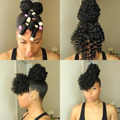 natural hair updo how to do natural hair with flexi rod natural hair and flexi rods Natural Hair Inspiration, Natural Hair Tips, Natural Curls, Natural Hair Journey, Cabello Afro Natural, Protective Style Braids, Protective Styles For Natural Hair Short, Braided Bun Hairstyles, Hairstyles Videos