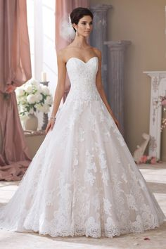 Classic Formal Romantic Ivory $$$ - $1501 to $3000 Ball Gown Ballroom Beading Country Club David Tutera for Mon Cheri Dropped Floor Lace Organza Strapless Sweetheart Wedding Dresses Photos & Pictures - WeddingWire.com