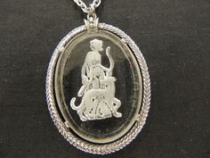 Vintage Silvertone Intaglio Cameo Glass Oval Pendant Necklace Victorian Dog WOW #Unbranded