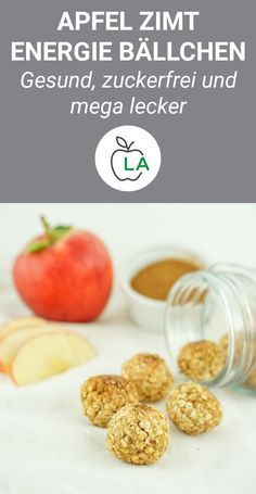 Apple cinnamon energy balls - healthy and sugar-free snack-Apfel Zimt Energiebällchen – Gesunder und zuckerfreier Snack Healthy snacks have to be like these delicious energy balls. Namely quick and perfect to take to school or to work. Vegan Snacks, Healthy Snacks, Healthy Recipes, Healthy Menu, Clean Eating Snacks, Healthy Eating, Stay Healthy, Healthy Weight, Healthy Life