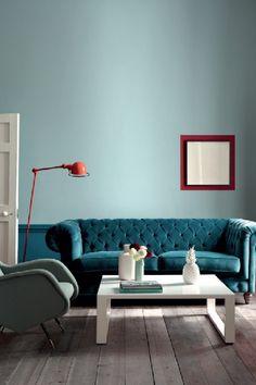 Little Greene Paint, Celestial Blue, Marine Blue, Bronze Red Little Greene Farbe, Little Greene Paint, Living Room Interior, Living Room Decor, Bedroom Decor, Interior Walls, Living Rooms, Peinture Little Greene, Deco Cool