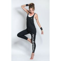 Sportsvest with draped look in black and length cut and racer-back design worn with logo print leggings Pilates Workout, Workout Fitness, Yoga Fitness, Sports Vest, Print Leggings, Swallow, Fitness Fashion, Activewear, Sportswear