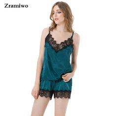 5cb337c9e6 2200+Orders Price 9.92 Satin Pajamas Set Lace Trim Pijama Short Pant Sexy  Cami Bridal Sleepwear Sets For Women