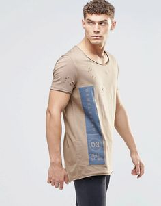 Image 1 of ASOS Super Longline T-Shirt With Curved Hem And Distress