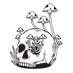 Black And White Skull With Mushroom Trippy Drawings, Dark Art Drawings, Weird Drawings, Black And White Cartoon, Black And White Drawing, Black And White Illustration, Black White, Mushroom Drawing, Mushroom Art